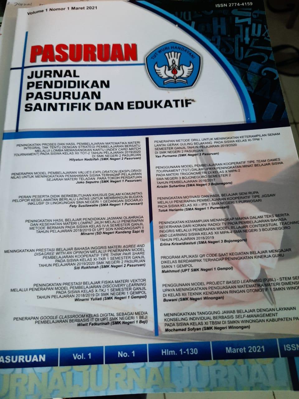 Jurnal Pendidikan Pasuruan Saintifik Dan Edukatif